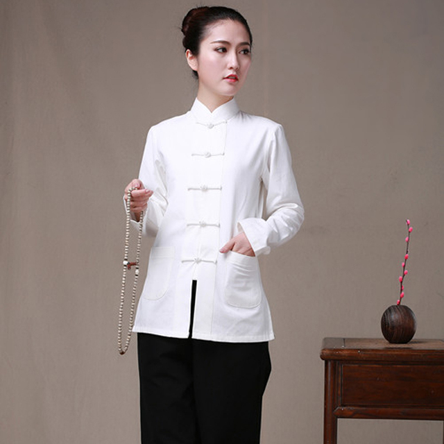 626139938 Long Sleeve Cotton Traditional Chinese Clothes Tang Suit Top Women Kung Fu  Tai Chi Uniform Shirt Blouse Hanfu femal pure costume