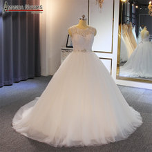 Fornecedor confiável da compra simples do vestido de casamento do laço