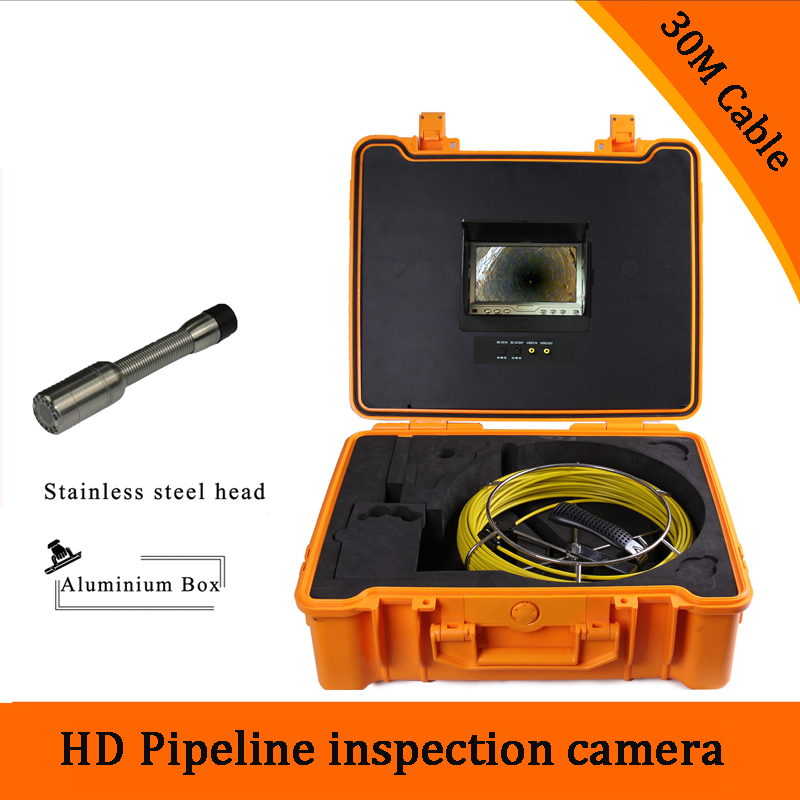 (1 set) 30M Cable industry Endoscope Camera HD 1100TVL line 7 inch TFT-LCD Display Sewer Pipe Inspection Camera System version 1 set 50m cable 360 degree rotative camera with 7inch tft lcd display and hd 1000 tvl line underwater fishing camera system
