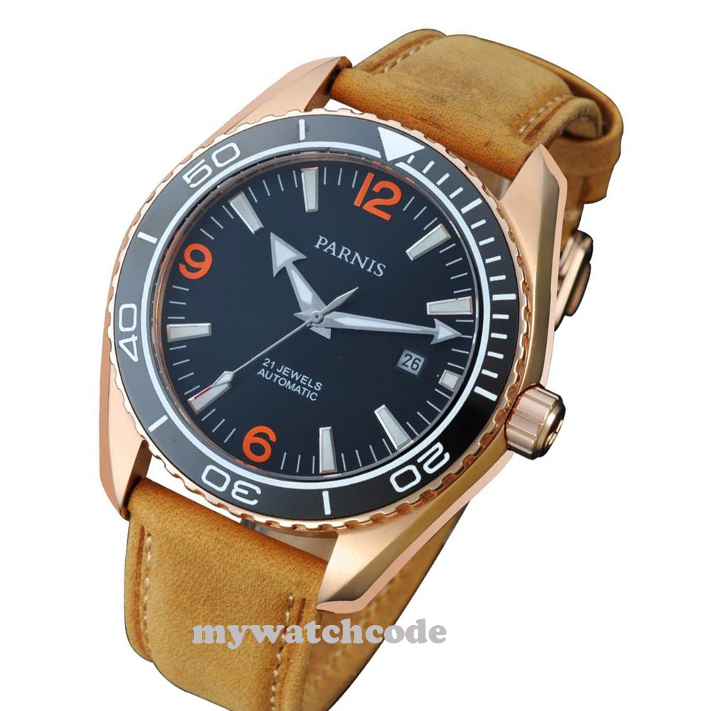 45mm Parnis black dial golden plated case Sapphire Glass Automatic mens Watch306