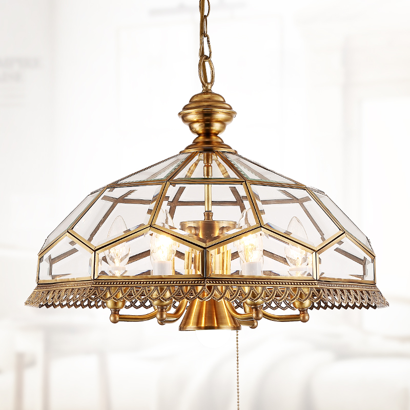 American style copper body LED Pendant light Dia.50cm 7 light American glass shade hanging light Bjornled E14 led lamp 5W white