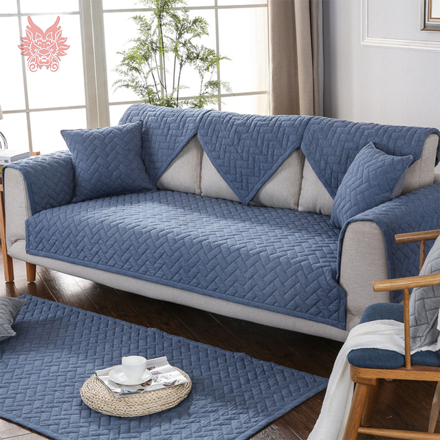 Modern Style Blue Quilted Sofa Slipcovers Cotton Sectional Sofa