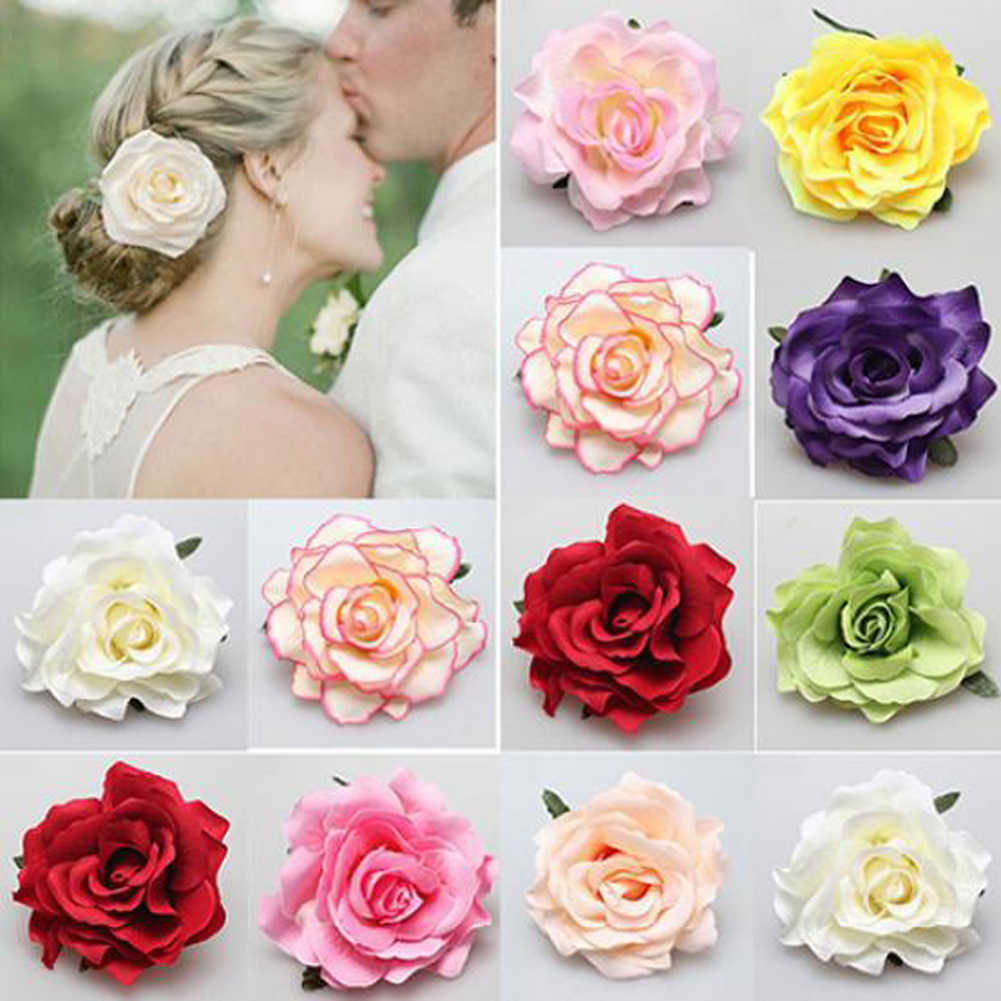 2018 Diy Headdress Hair Accessories For Bridal Wedding Flocking Cloth Red Rose Flower Hairpin Hair Clip Party Accessories
