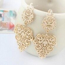 Hot 1 Pair Golden/Silvery Elegant Dangle earring Hollow Anti-Silver bohemian earing Ear Stud