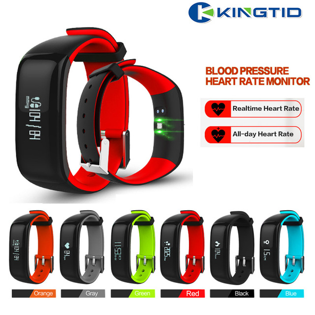 "P1 Bluetooth Smart band Blood Pressure Monitor Heart Rate Monitor Wristband Waterproof IP67 Smart Bracelet Wearable 0.86"" OLED"