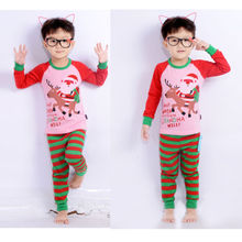 CANIS Pajamas Clothes Cotton Kids Boys Clothes Santa Christmas Pajamas Longsleeve Tops+Pants Leggings Outfits 2-7T