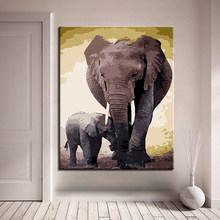 Framework DIY By Numbers Kits Coloring Painting Animal Elephants Acrylic Paint On Canvas Cuadros Picture For Home Decoration(China)