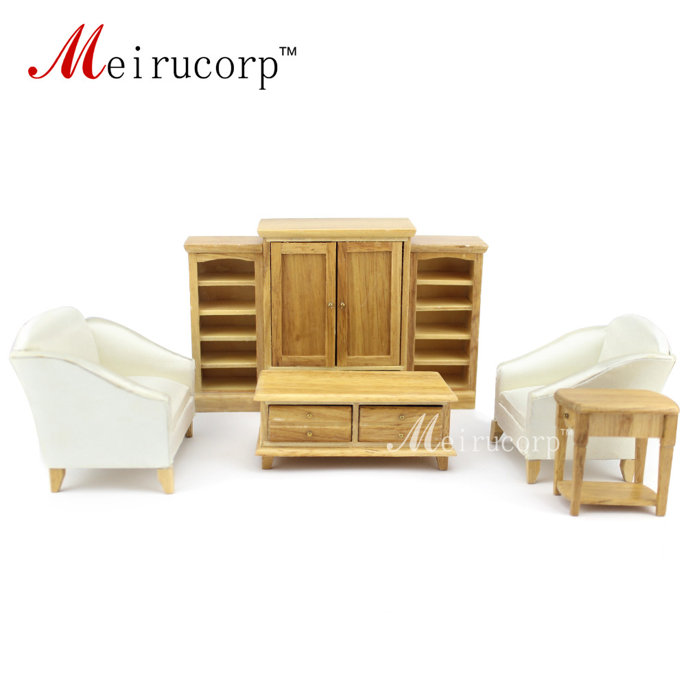 Dollhouse 1 12 scale miniature furniture wooden hand living room 7 pcs set sofa table cabinet Dollhouse wooden furniture