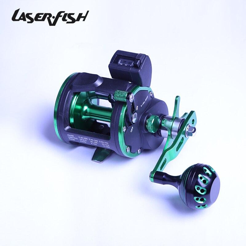 LaserFish STTL Traîne moulinet de pêche 6BB 1RB 18 kg avec compteur et support pour la pêche en mer
