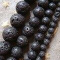 Hot 4 6 8 10 12 mm piedra Natural de la Lava del volcán granos flojos redondos For joyería que hace el tamaño de la selección