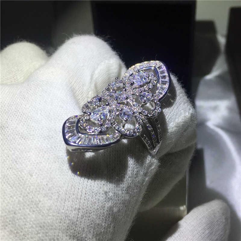 Luxury court เครื่องประดับ 925 เงินสเตอร์ลิงแหวน 5A zircon หินขนาดใหญ่แหวนหมั้นแหวนของขวัญเจ้าสาว