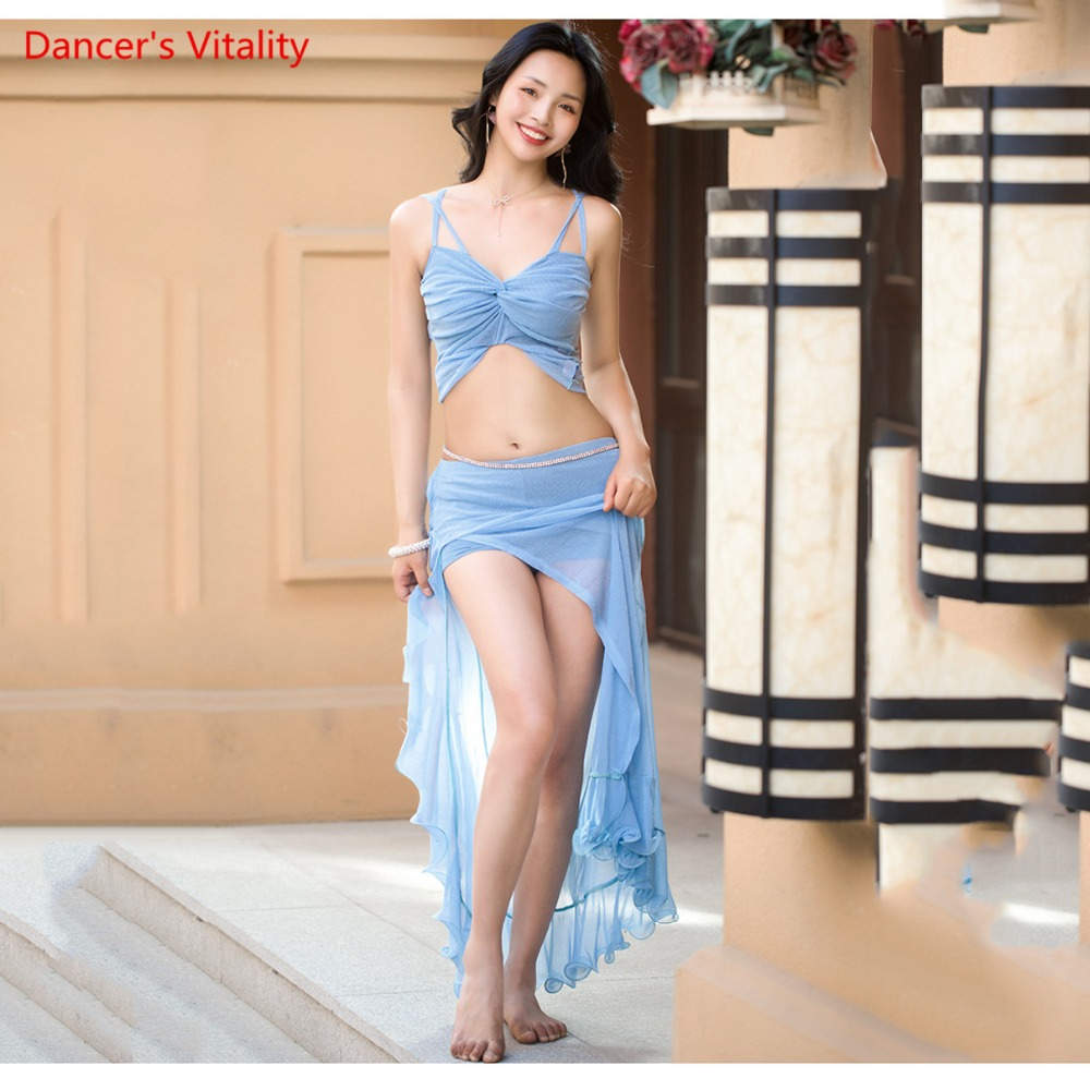 Belly Dance Silver wire Perspective Gauze Belly Dance sexy Skirt 2 pcs Solid color Fit For