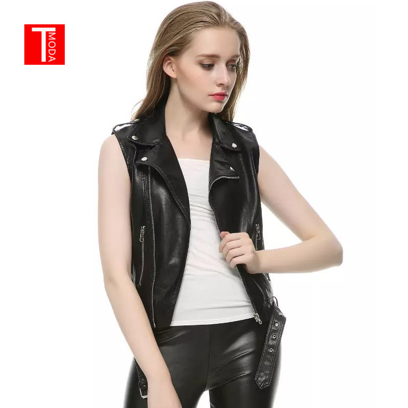 2018 New Fashion Women Spring Autunm Black Faux   Leather   Vest Jackets Lady Bomber Motorcycle Cool Outerwear Coat with Belt