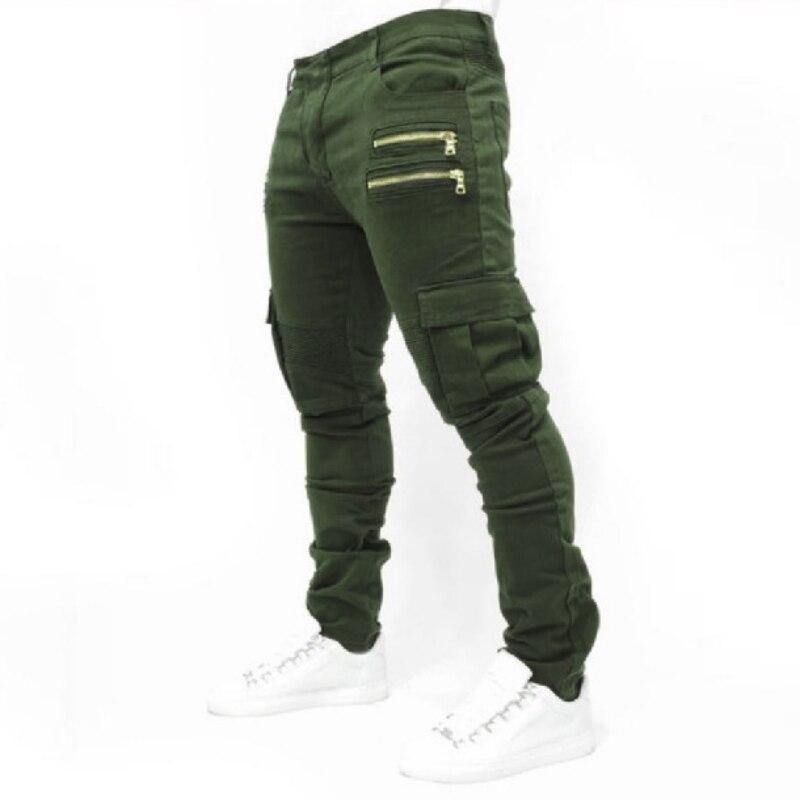 2019 New Dry Mens Pants Pocket Full Length Men Hip Hop Joggers Pants Plus Size Trousers Male Zipper Fold Stretch Jeans Cotton