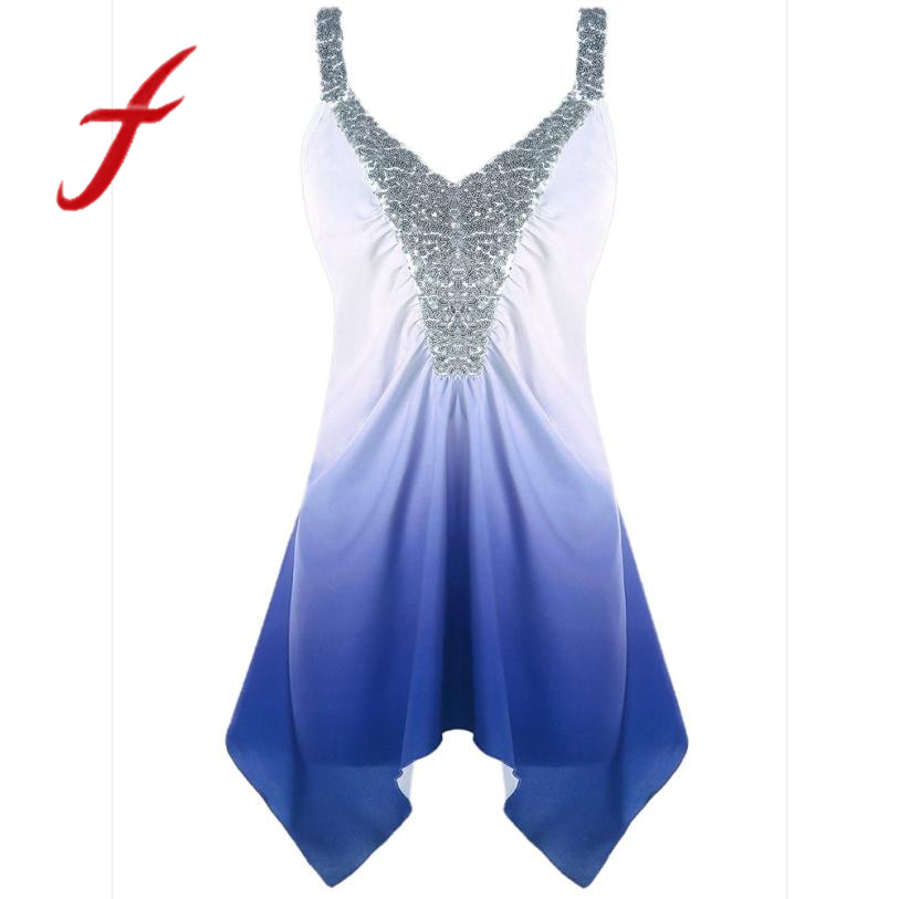 Fashion womens tank tops camisole plus size sexy sequins ombre v-neck print tank top blouse cropped regata feminino 2018
