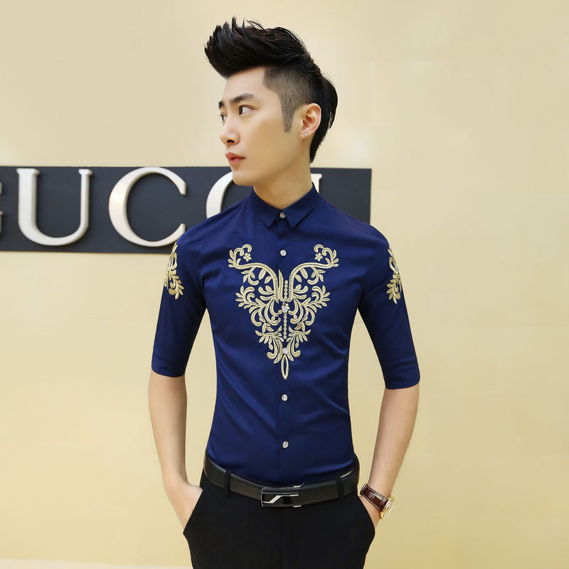 Online Shop Mens Flower Shirt 2015 Camisa Social Blue Black White ...