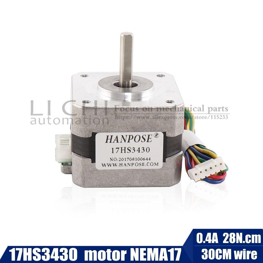 цена на Free shipping for 3D printer Nema17 Stepper Motor 42 motor Nema 17 motor 42BYGH 0.4A (17HS3430) motor 4-lead