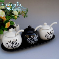 Black and white porcelain high temperature ceramic spice jar set porcelain spoon