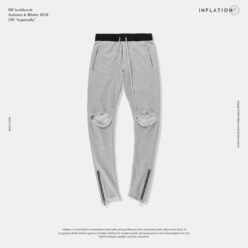 L'INFLATION Genou Trous Lavé Détruits pantalons de Survêtement High Street Slim Fit Ripped Joggeurs Hommes High Street Leggings Zip Cheville 81176 w