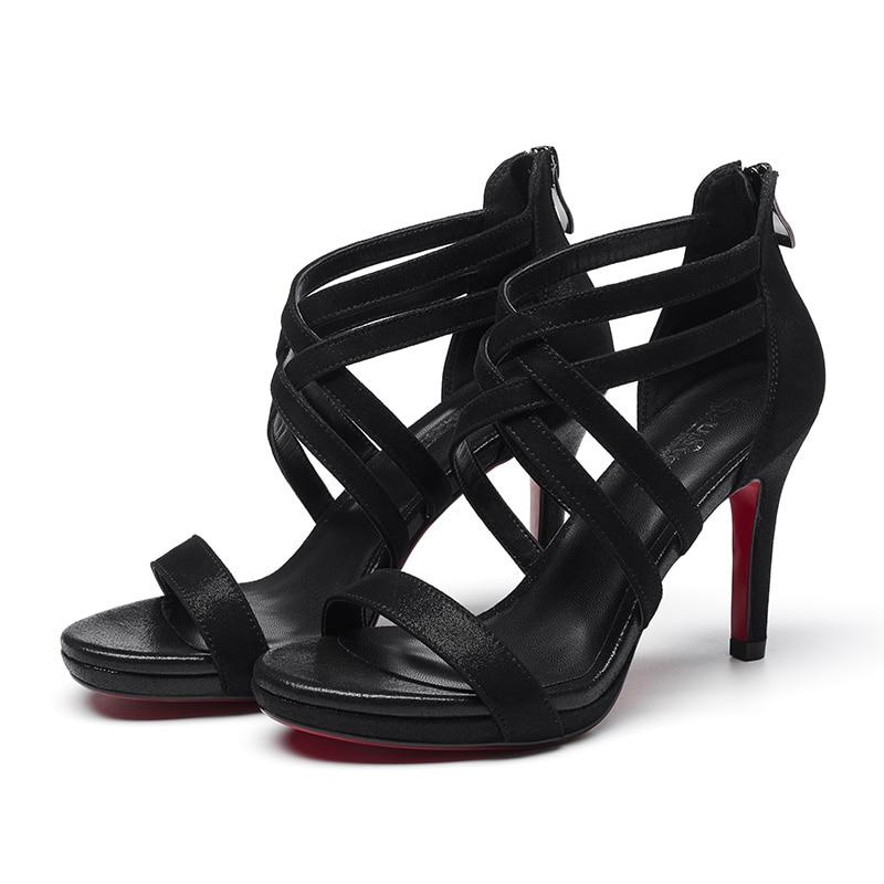 black De Enmayla Sandalias Tamaño Genuino Cuero Básicos Mujeres Tacón Cremallera 39 Las Beige 34 2019 Ly1017 Hing Zapatos Vestido Verano HdqAd