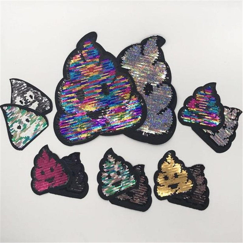 Reversible change color sequins patch deal with it clothes 20cm funny poo poo sweet patches for clothing t shirt women stickers