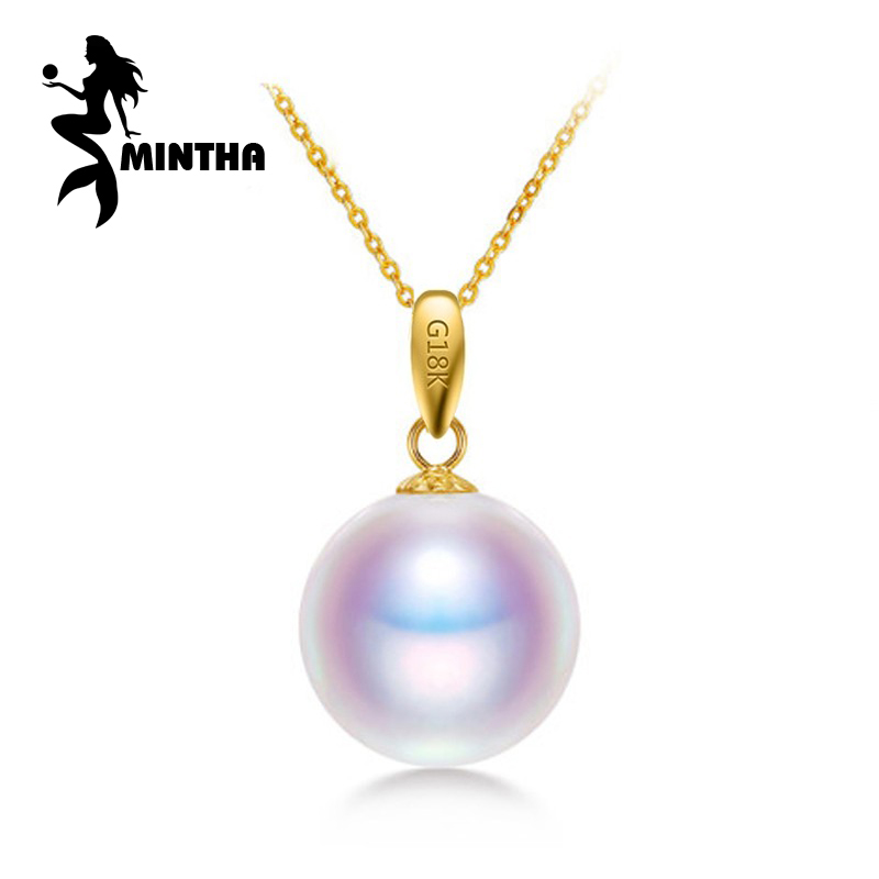 18K Yellow Gold peandant pearl Jewelry necklaces & pendant for lovers Akoya pearl pendants send s925 silver necklaces