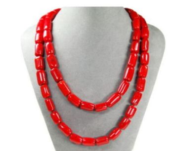 "7X10MM NEW Beautiful necklace made of corals in cylinder form 50""long"