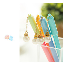 30 pcs/Lot Sweet pearl pendant ball pen Blue color gel ink kid gifts Stationery Office  School supplies FB891