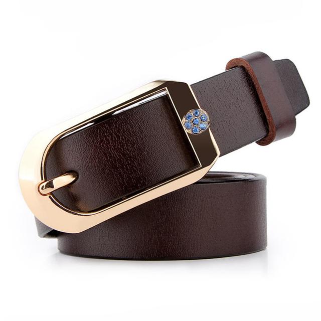 Lo nuevo de Cuero Genuino Pin Hebilla de Cinturón Retro Para Mujeres de la Alta Calidad de Moda de Lujo Rhinestone Cinturones Femeninos Princesa Faja Q209