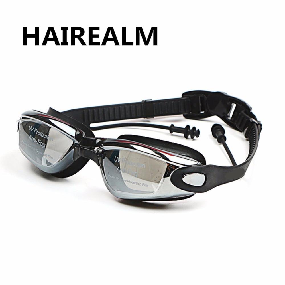 Profissionais de Silicone dioptria Óculos Esportes miopia Óculos de Natação  Anti fog UV Óculos de Natação Com Tampão para Homens Mulheres em Óculos de  ... 003209e080