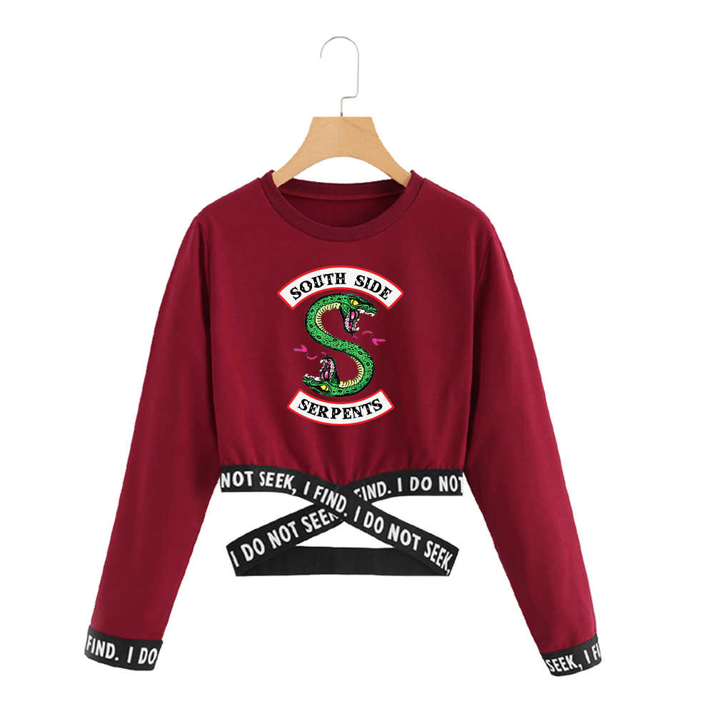 Riverdale Out Waist Cross Harajuku Streetwear Long Sleeve Crop Top Women Hip Hop South Side Serpent Print Instagram Clothing