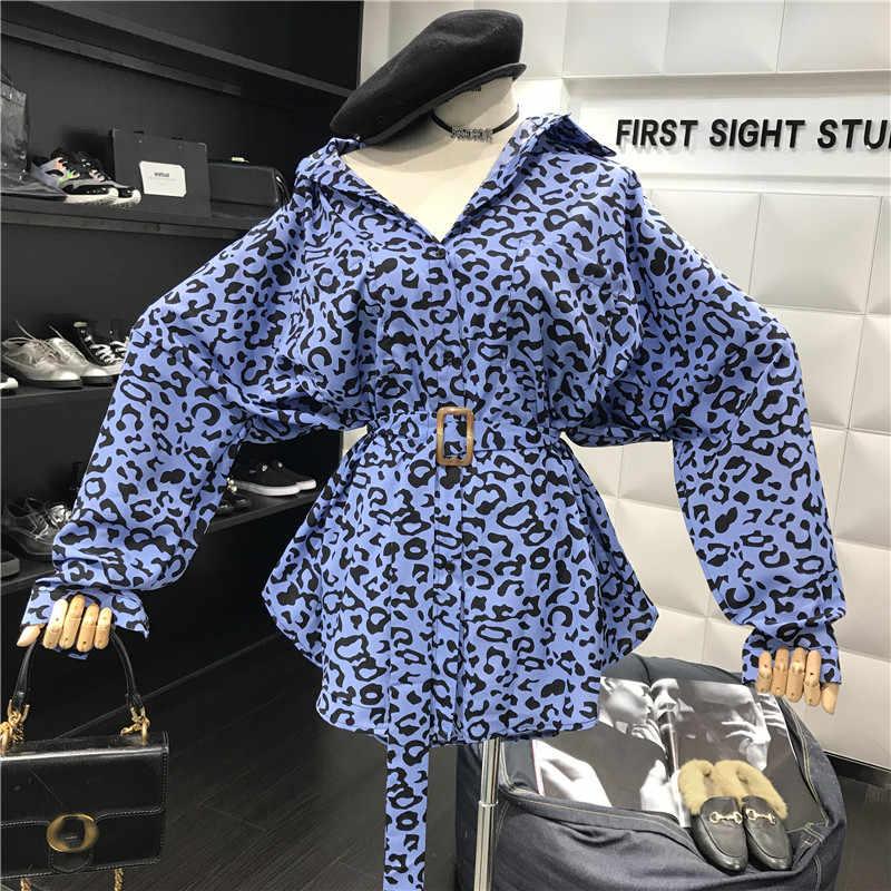 Gagarich بلوزة النساء 2019 الخريف موضة ليوبارد طباعة فضفاض الأوسط طويل زنار رقيقة عادية كم طويل قميص معطف المد