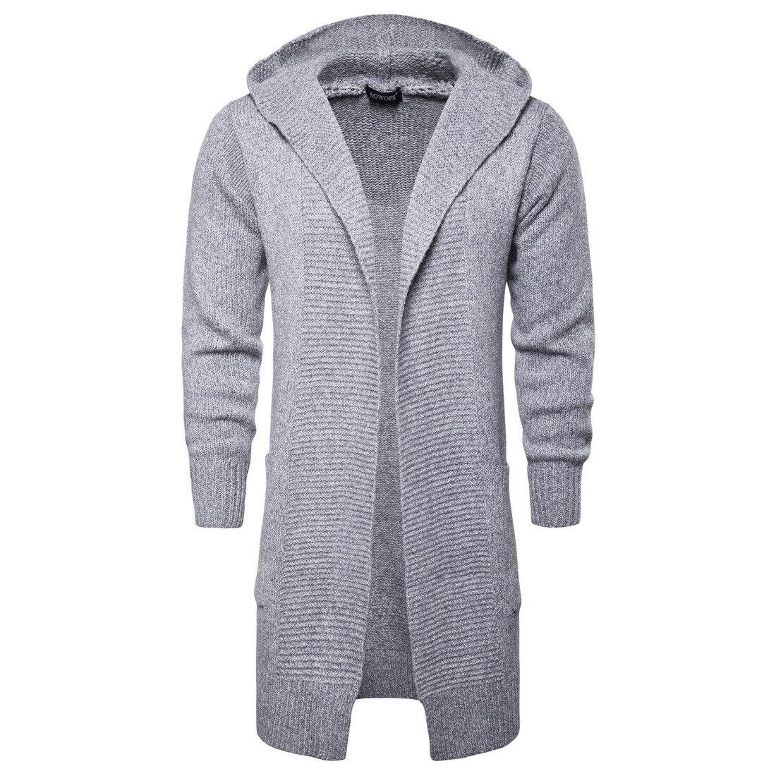 Haute qualité nouvelle mode automne vêtements pour hommes capuche kiise Cardigans vêtements hommes décontracté mi-long Cardigan hommes pull