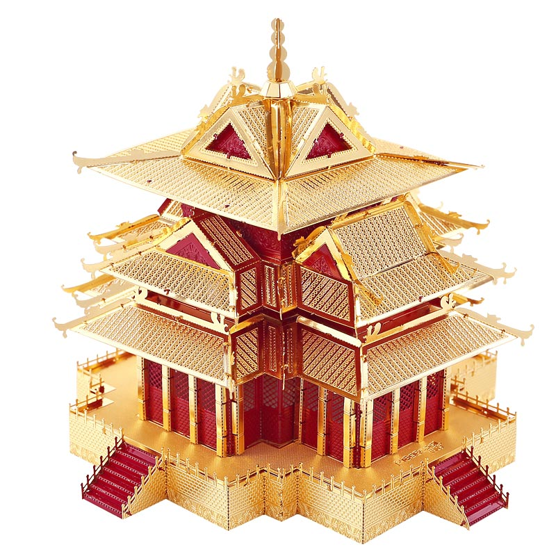 DIY Mini 3D Metallic Nano Puzzle Chinese Ancient Architecture The Watchtower Of Forbidden City Building Adult Kid Toys the forbidden worlds of haruki murakami