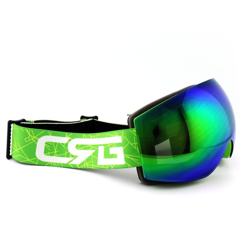 Blue Green Lens Green Frame Brand Ski Goggles Double UV400 Anti Fog Big Ski Mask Glasses