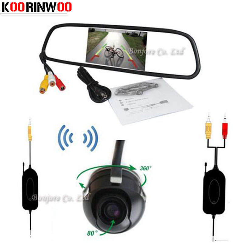 Koorinwoo Universal Wireless 4.3Inch Digital Screen LCD Car Mirror Monitor Parking 360 Degree Backup Rear View Camera Reversing