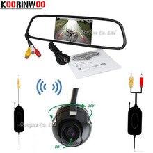 Koorinwoo Universal Wireless 4.3Inch Digital Screen LCD Car Mirror Monitor Parking 360 Degree Backup Rear View Camera Reversing