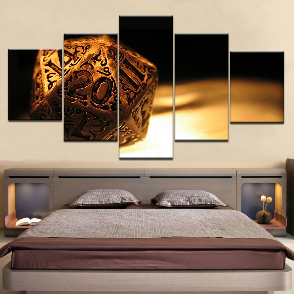 Dungeons Dragons Cover Art Wall posters Canvas Art painting 5 Panel HD Print For home living room decoration in Painting Calligraphy from Home Garden