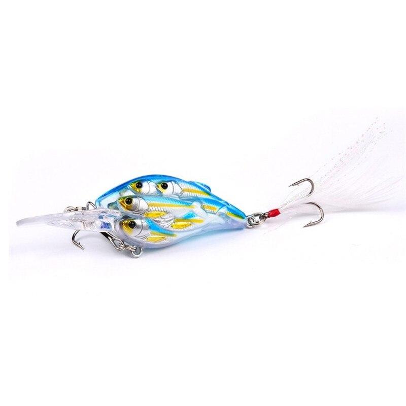 1 PCS 8 centímetros 9.4g Grupo Peixe Crankbait Iscas De Pesca Olhos 3D Wobblers Pesca Rígido Isca Artificial Baixo Pike com Pena