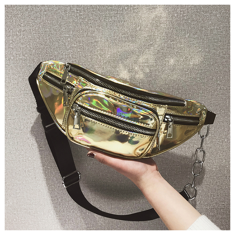 Maelove Hologram Bag Women's Laser Silver Waist Bag Fanny Packs Girl's Luxury Shoulder Belt Bag 4 Colors Free Shipping