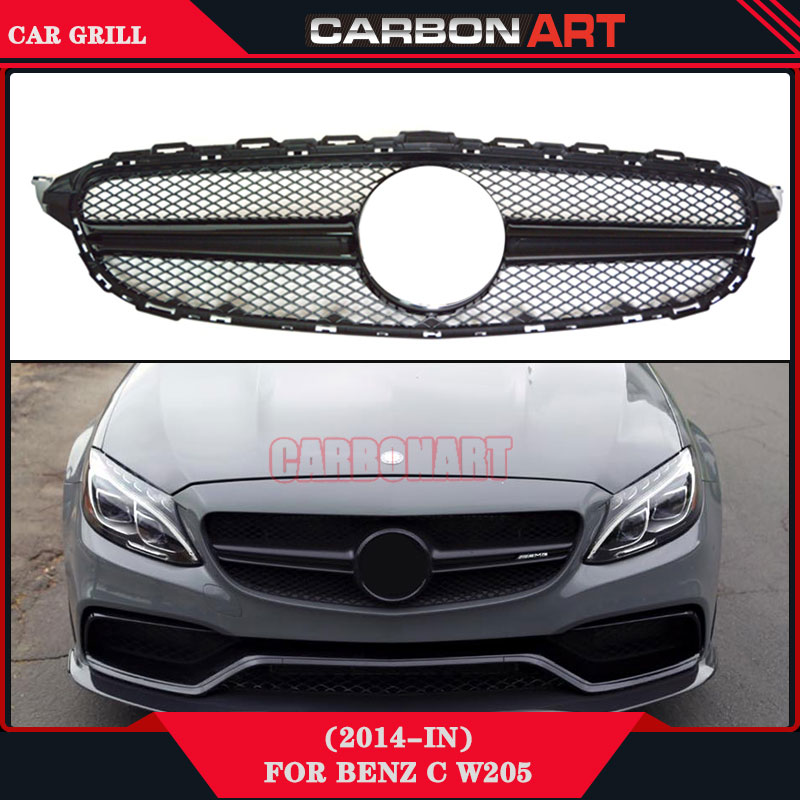 C63 Amg Style Black Front Bumper Mesh Grille For Mercedes Benz 2015 2016 C180 C200 C350 C220 C300 W205 Sport Edition Only silvery amg logo front grill grille emblems abs chrome material amg badge for mercedes benz cars