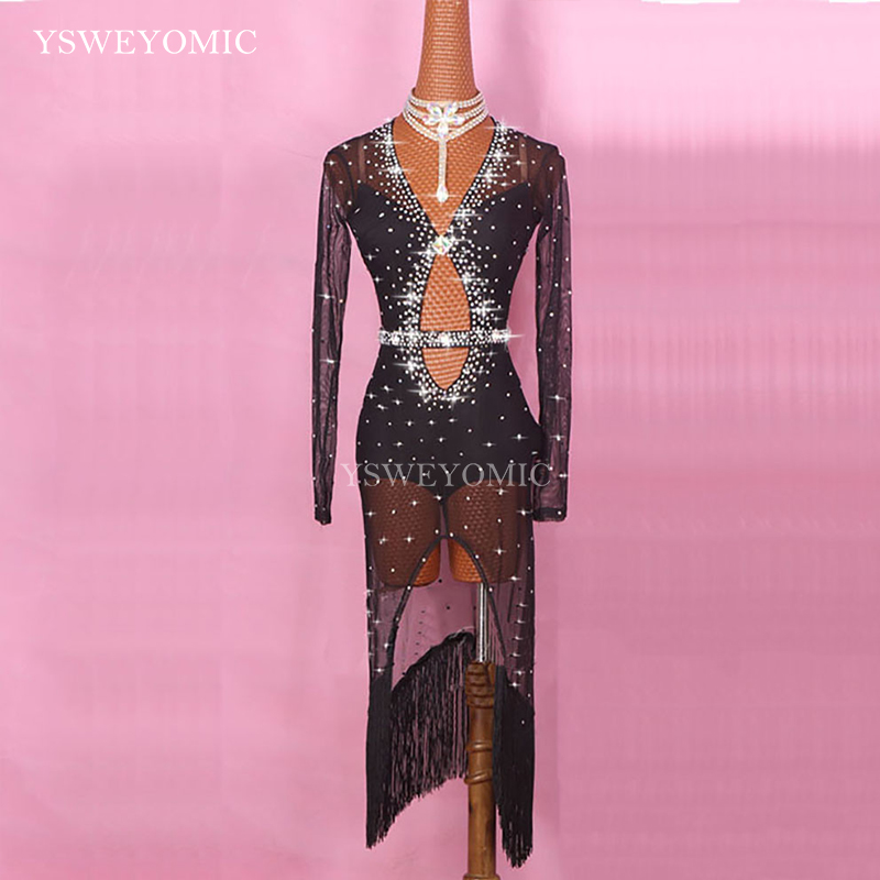 Red Black Shiny Rhinestones Latin Dance Performance Female Dance Clothing Competition Latin Suit Dance Dress For Women
