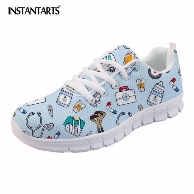 INSTANTARTS Bahar Hemşire düz ayakkabı Kadınlar Sevimli Karikatür Hemşireler Baskılı kadın Sneakers Ayakkabı Nefes Örgü Daireler kadın ayakkabısı
