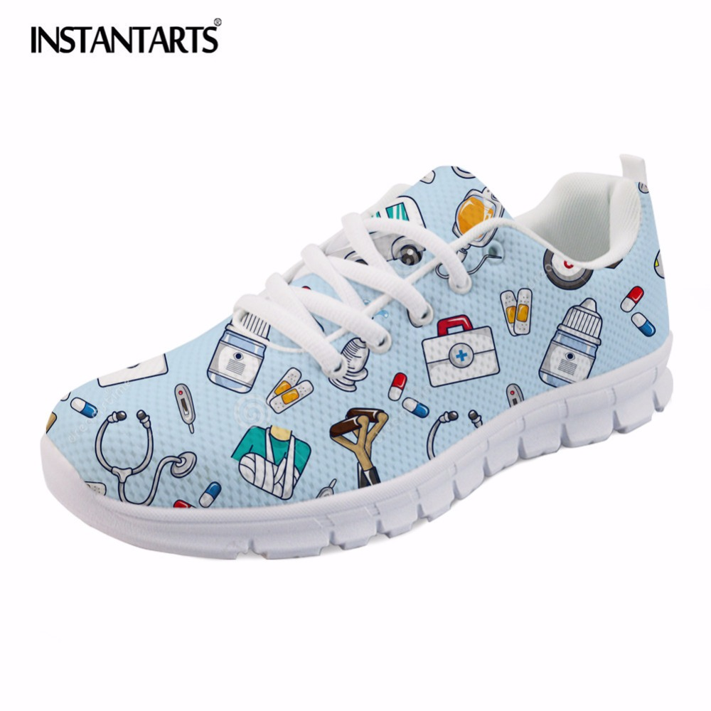 INSTANTARTS Spring Nurse Flat Shoes Women Cute Cartoon Nurses Printed Women's Sneakers Shoes Breathable Mesh Flats Female Shoes instantarts fashion women flats cute cartoon dental equipment pattern pink sneakers woman breathable comfortable mesh flat shoes