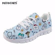 INSTANTARTS wiosna pielęgniarka płaskie buty kobiety Cute Cartoon pielęgniarki drukowane damskie trampki buty oddech Mesh mieszkania Zapatos de Mujer