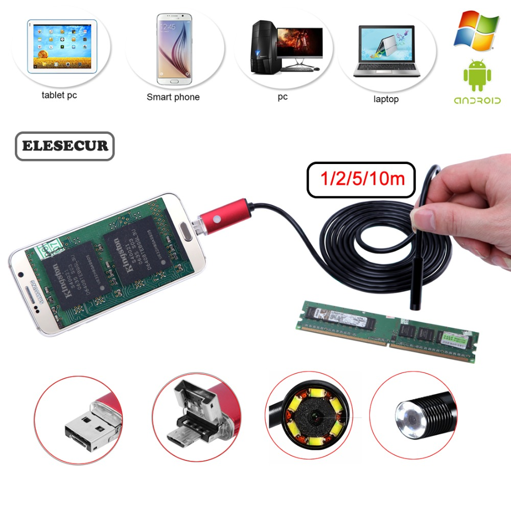 2-5-10M 2-In-1 Waterproof Endoscope Camera Android Borescope Inspection Camera For Car Repairing Pipe Examine