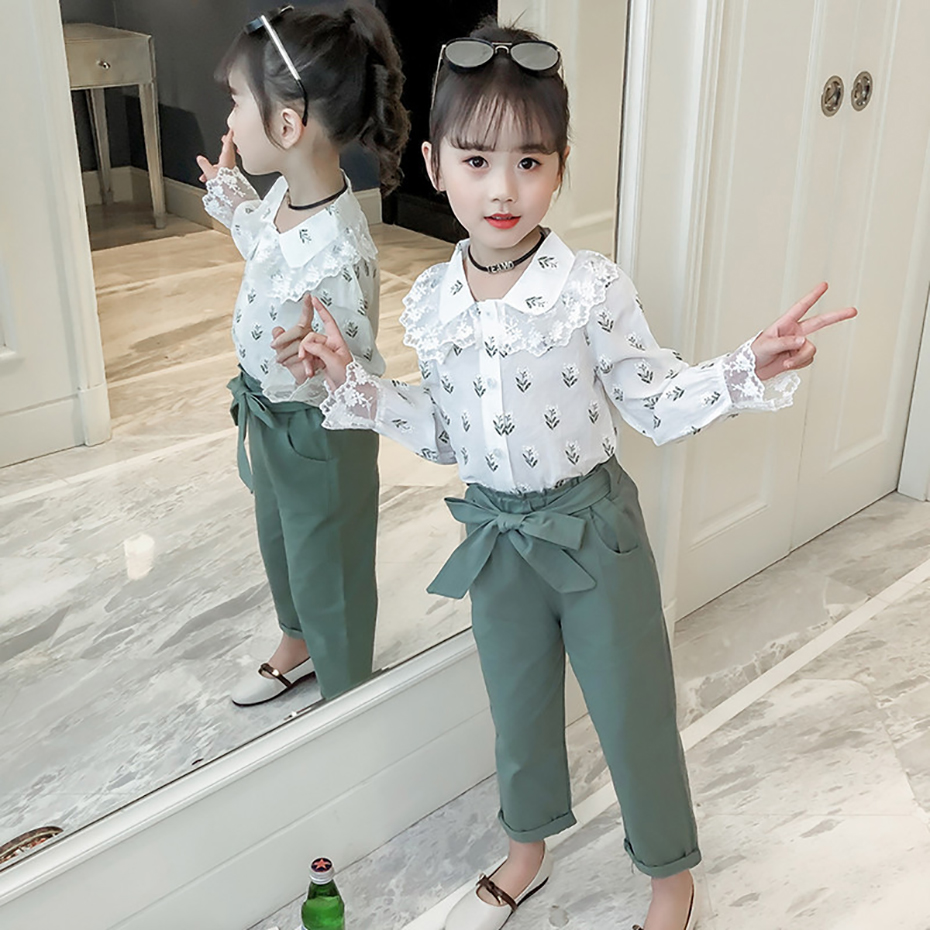 Kids's Clothes Set For Ladies Spring Children Clothes Go well with Lengthy Sleeve Garments For Teen Ladies 6 8 12 Years Lace Children Clothes Clothes Units, Low cost Clothes...