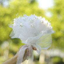 Artificial Flower Bridal Bouquet Handmade White Rose With Crystal Ribbon Lace Mariage Wedding Bouquets Accessories luxury clear leaf design rhinestones beaded trim bridal wedding garter sets with white ribbon bow handmade