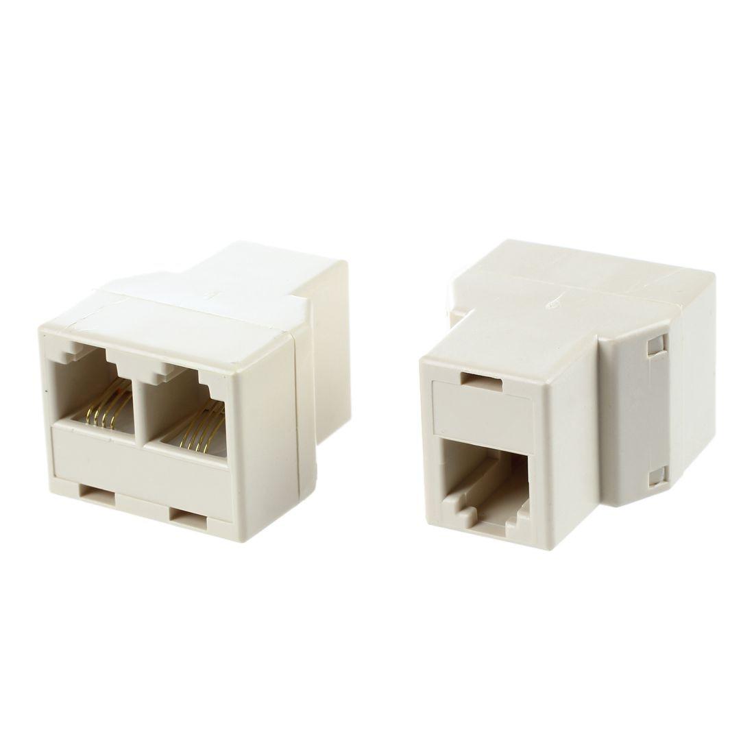 RJ11 6P4C 1 to 2 Female Plug Telephone line Splitter Connector 10 Pcs