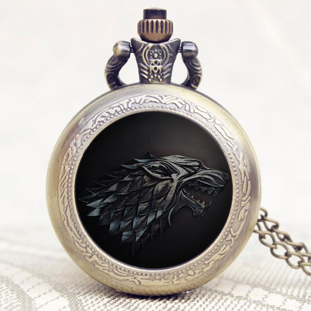 Game of Thrones Theme Quartz Vintage Pocket Watch Stark Family Winner is Coming Antique Fob Watches Men Women Gift With Chain
